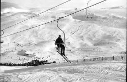Very early photograph of the first chairlifts in Scotland