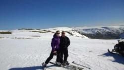 Ski Touring with with sunshine