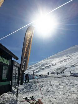 Glenshee Ski School flag in sunshine